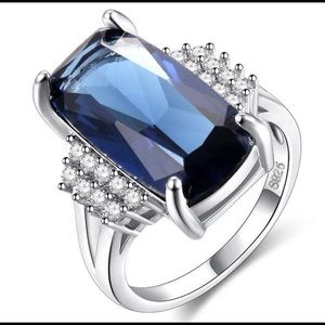 New S925 Ring Blue Stone